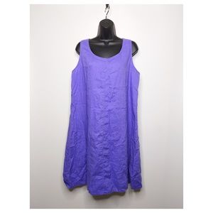 J Jill Dress Large Purple 100% Linen Midi A Line S